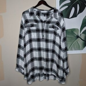 Lane Bryant White Black Check Flannel Button Up